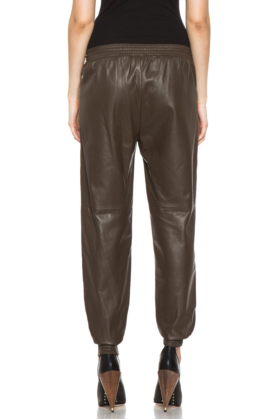 Image 4 of Vince Leather Jogging Pant in Olive