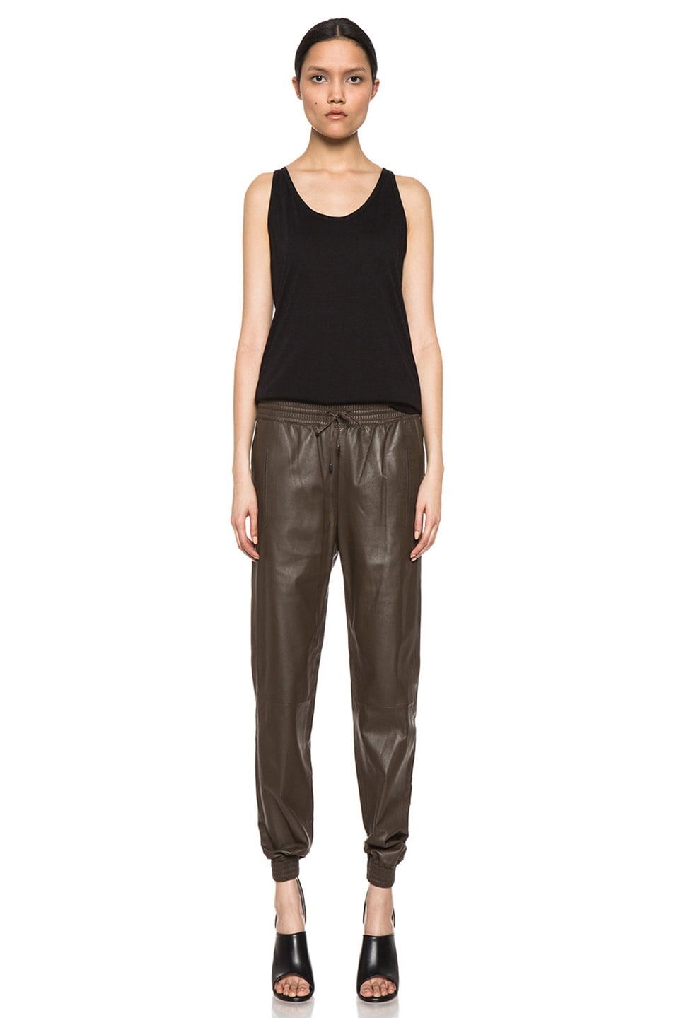 Image 5 of Vince Leather Jogging Pant in Olive