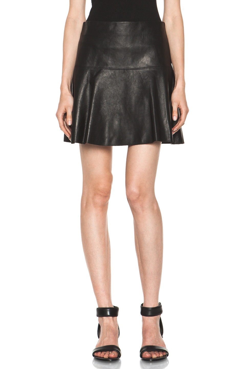 Image 1 of Vince Drop Yoke Flare Skirt in Black