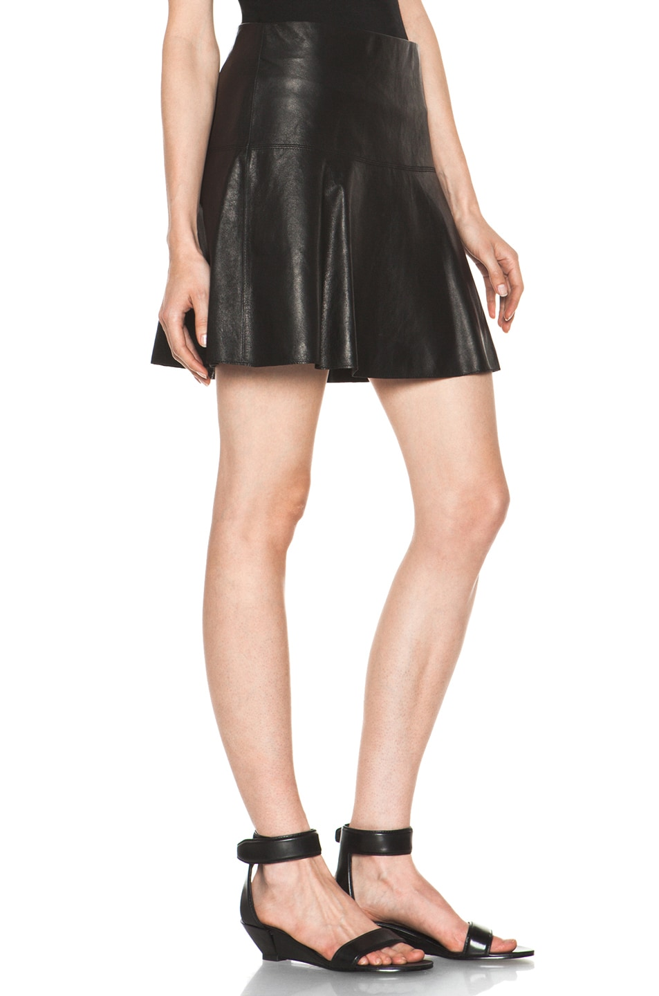Image 3 of Vince Drop Yoke Flare Skirt in Black