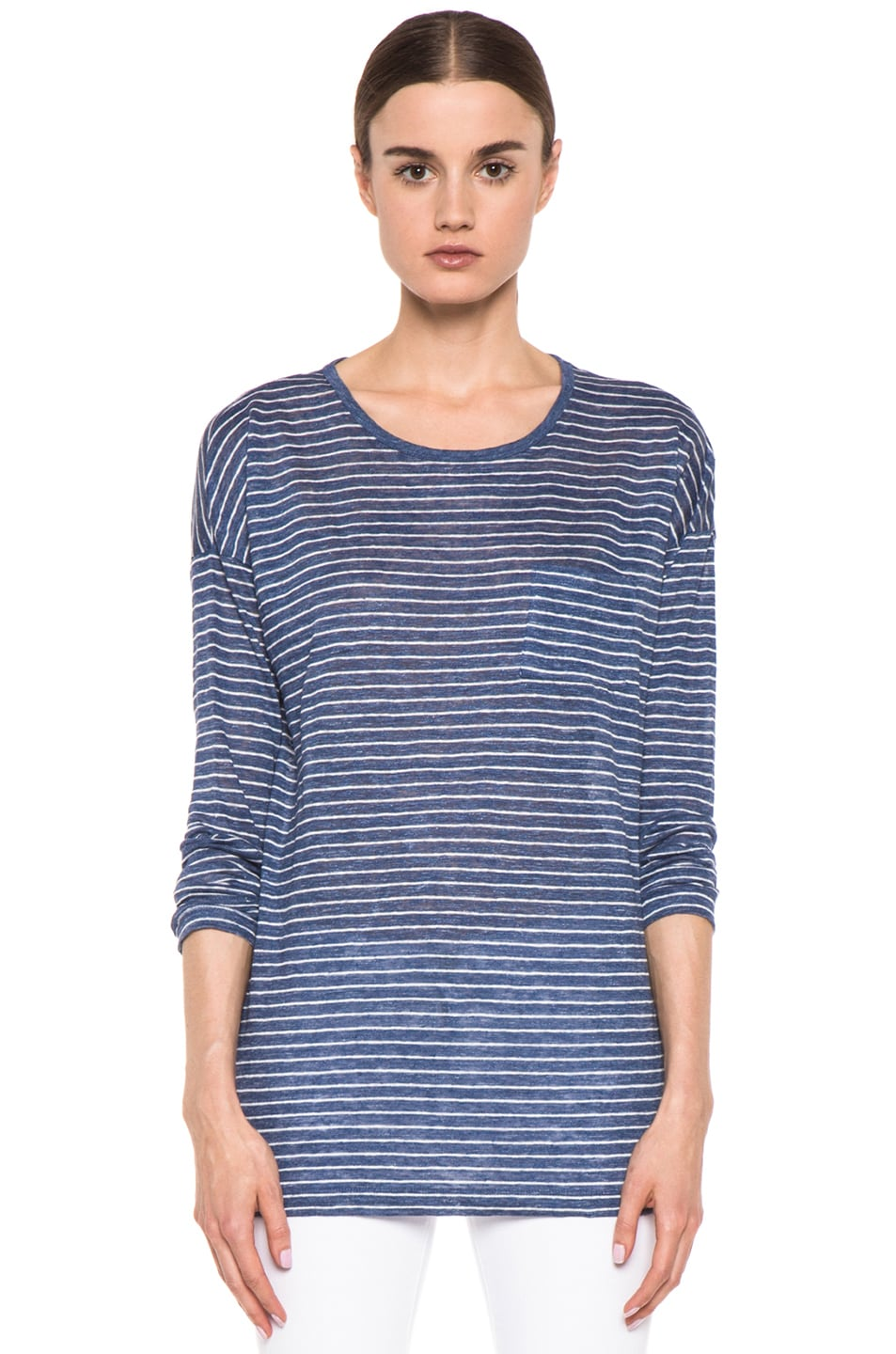 Image 1 of Vince Striped Long Sleeve Tee in Heather Seaside & Sail