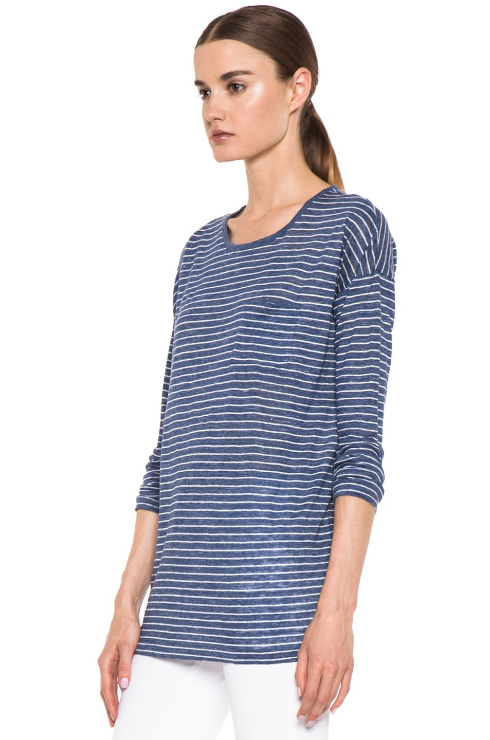 Image 2 of Vince Striped Long Sleeve Tee in Heather Seaside & Sail