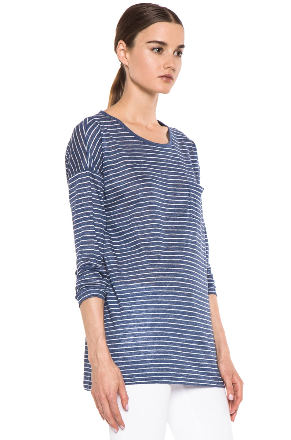 Image 3 of Vince Striped Long Sleeve Tee in Heather Seaside & Sail