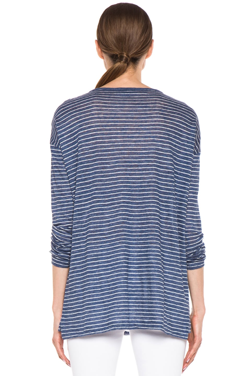 Image 4 of Vince Striped Long Sleeve Tee in Heather Seaside & Sail