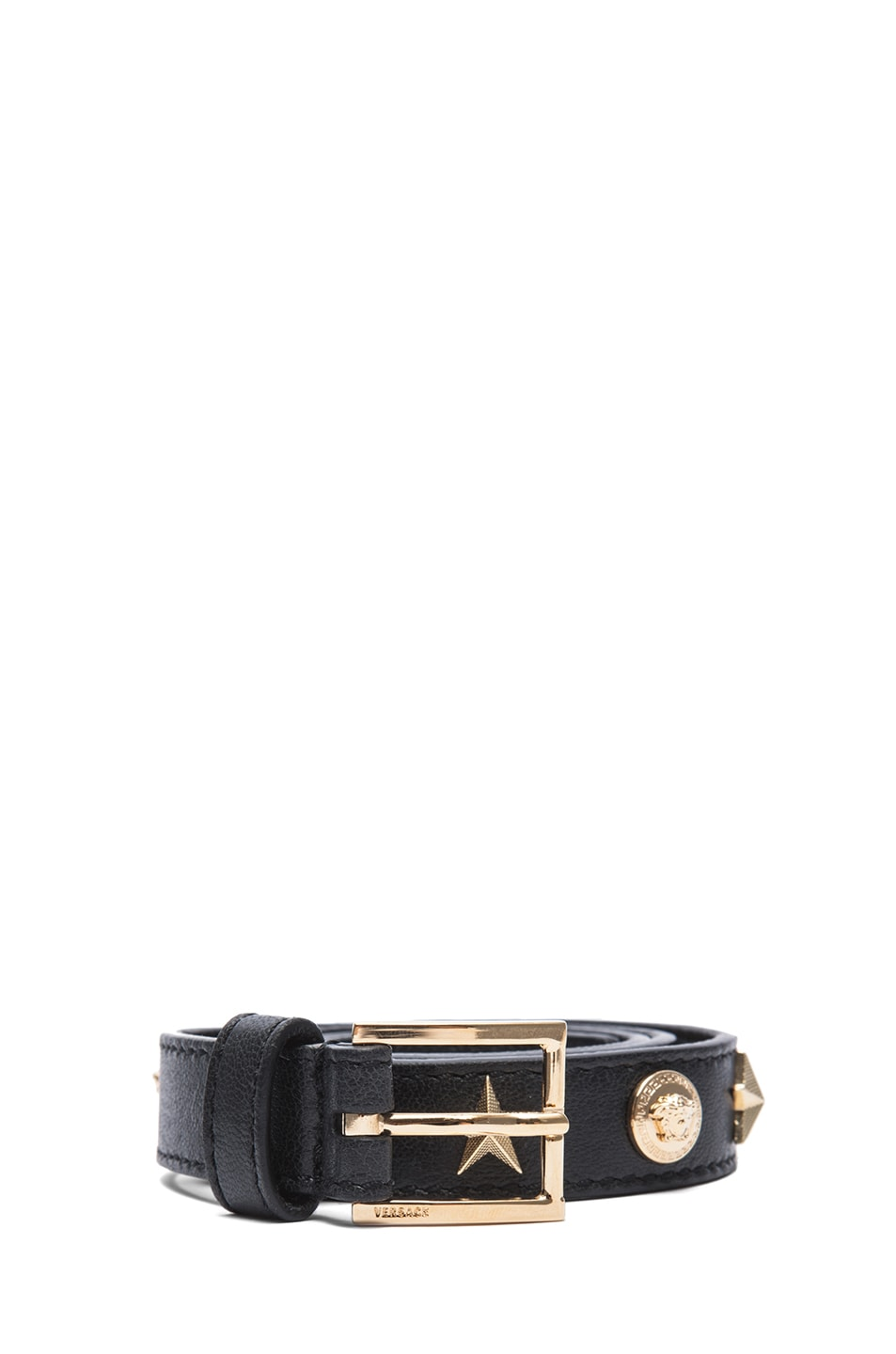 Image 1 of VERSACE Star Studded Belt in Black