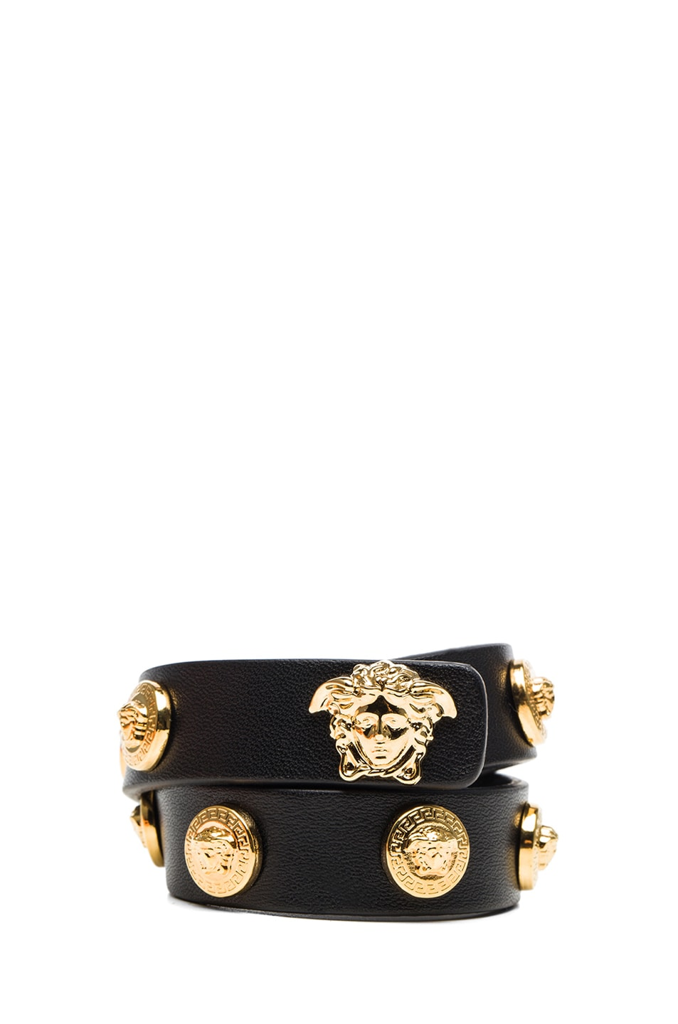 Image 1 of VERSACE Leather Bracelet in Black & Gold