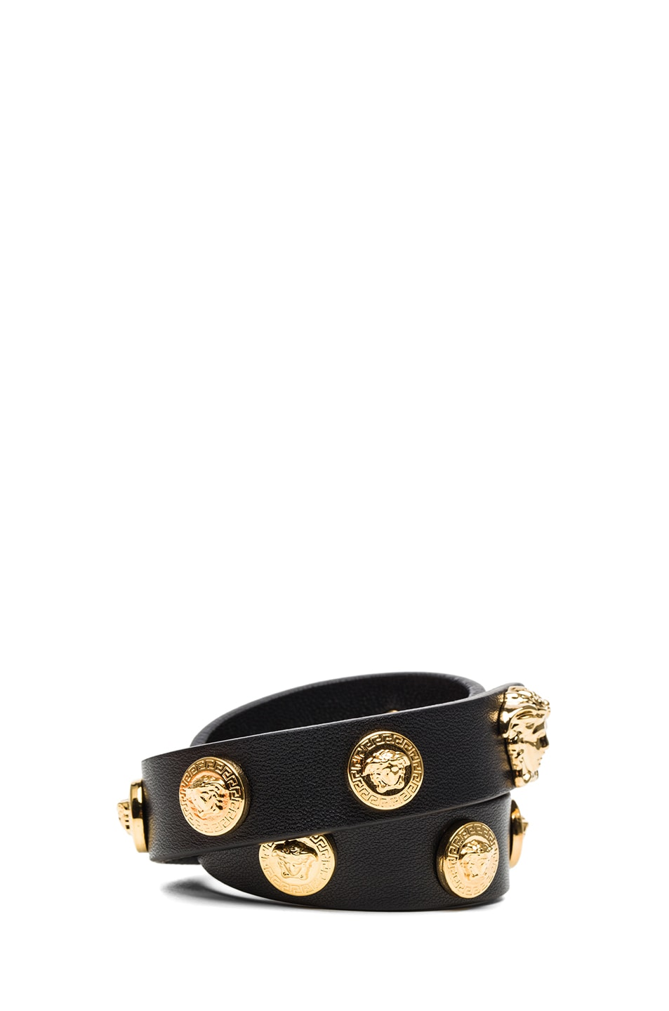 Image 2 of VERSACE Leather Bracelet in Black & Gold