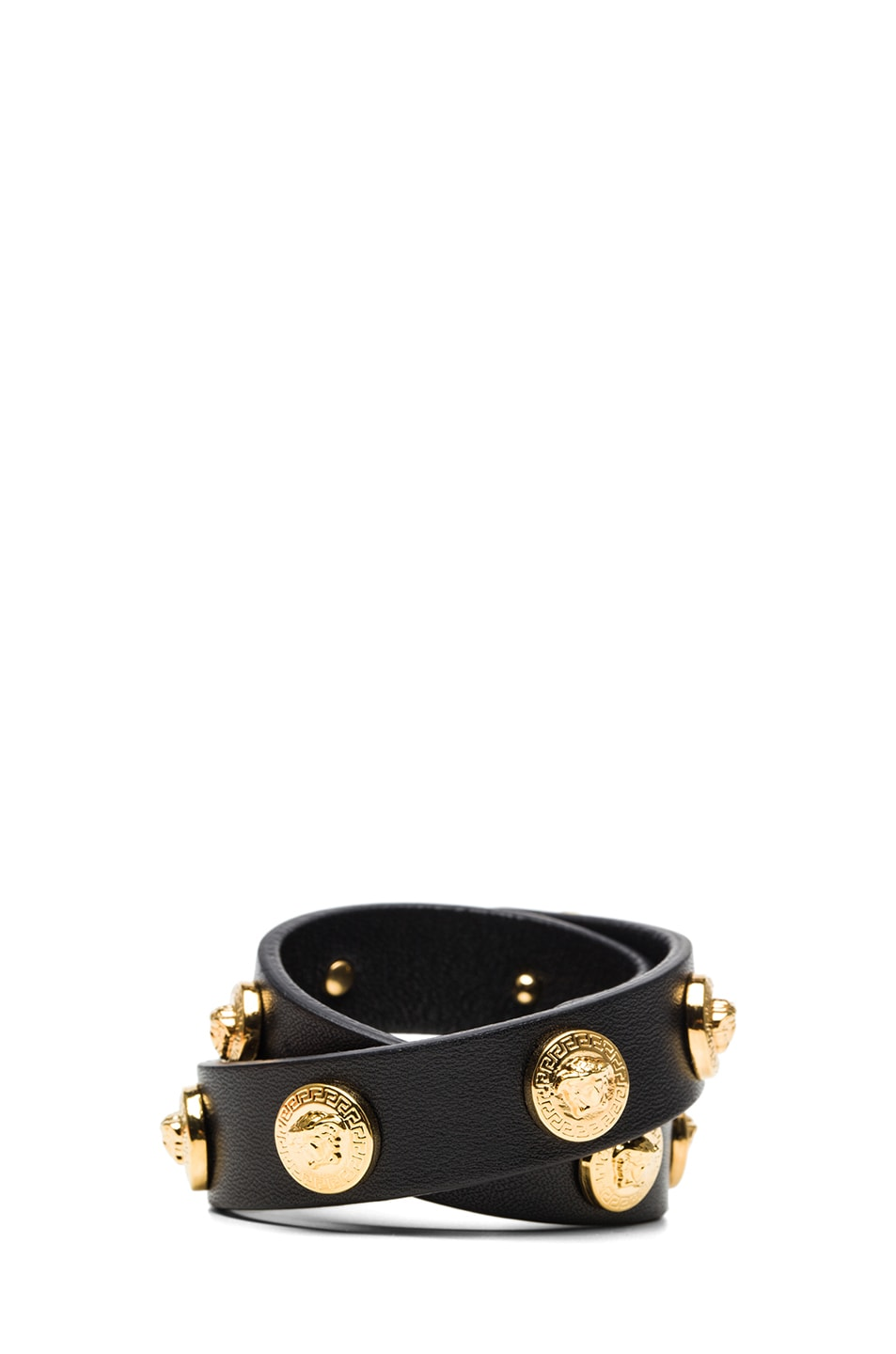 Image 3 of VERSACE Leather Bracelet in Black & Gold