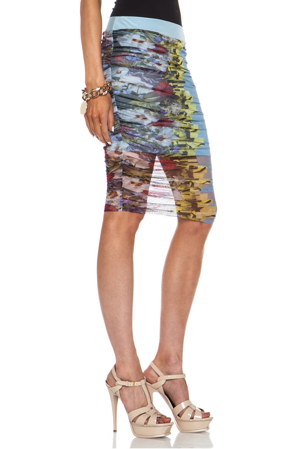 Image 3 of VERSACE Floral Ruched Polyamide-Blend Pencil Skirt in Multi