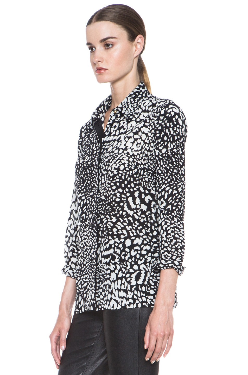 Image 2 of VERSACE Stamp Print Silk Blouse in Black