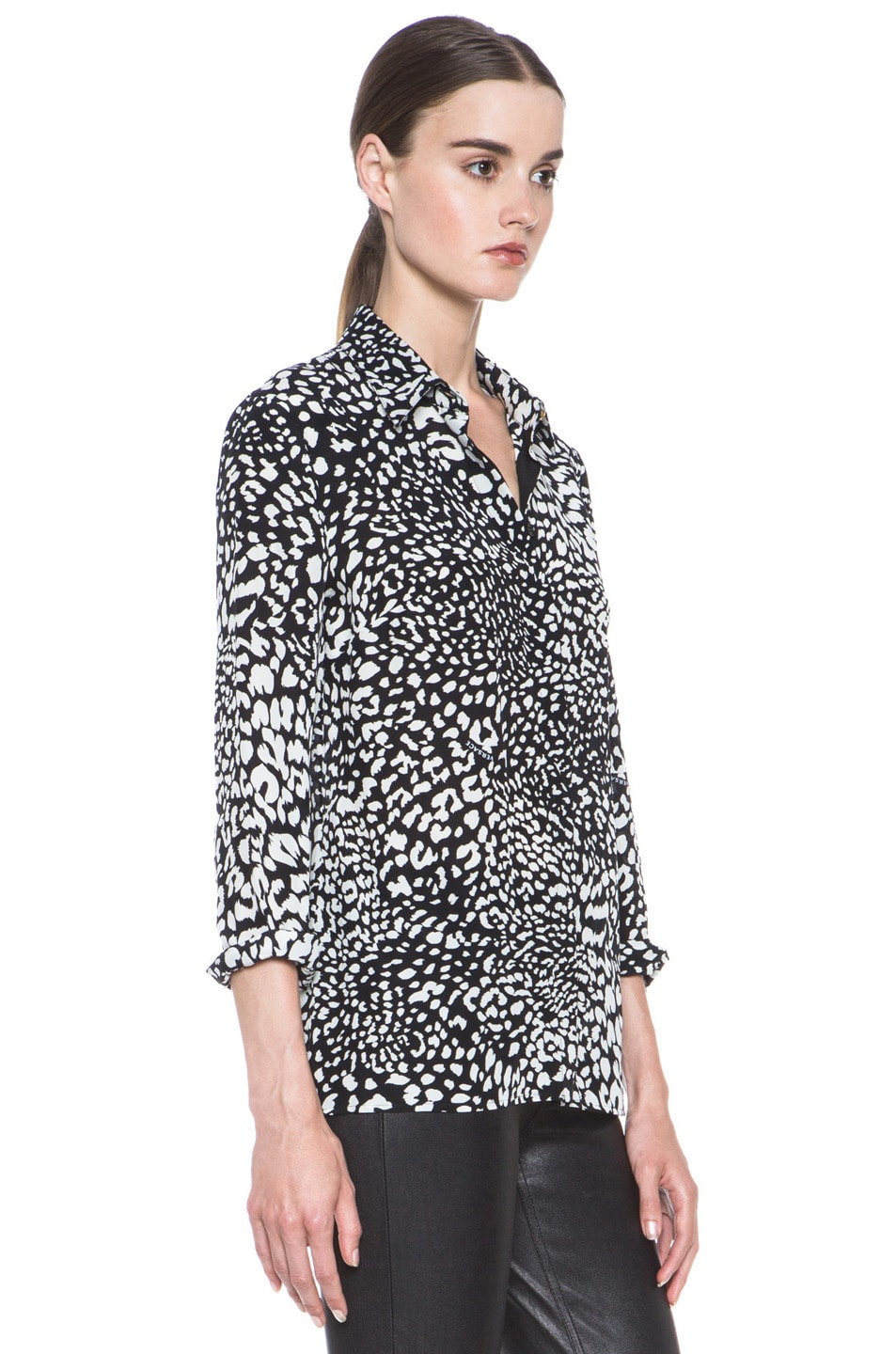 Image 3 of VERSACE Stamp Print Silk Blouse in Black