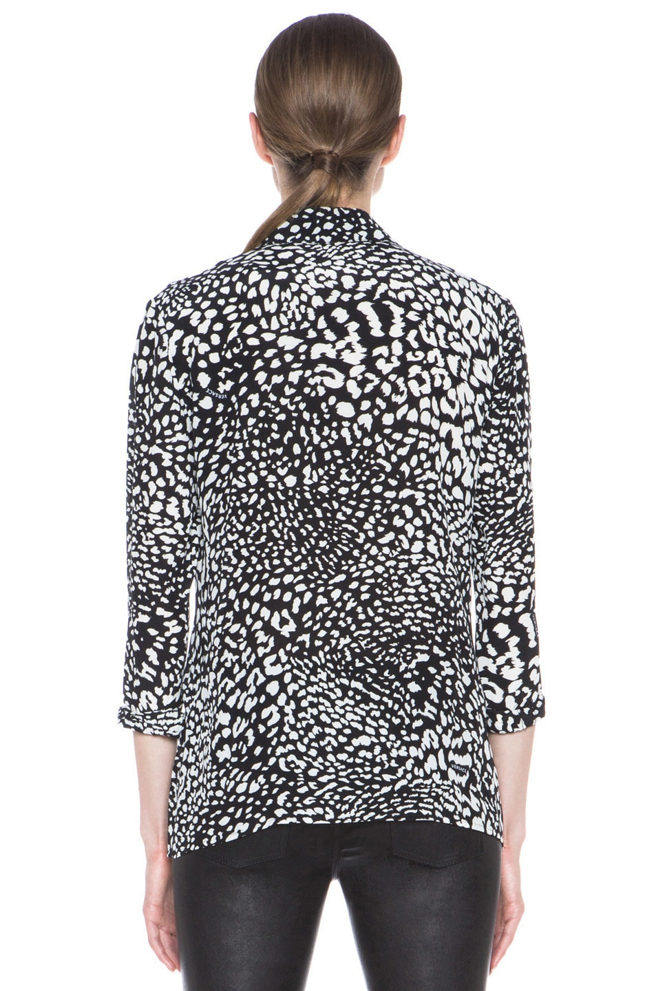 Image 4 of VERSACE Stamp Print Silk Blouse in Black