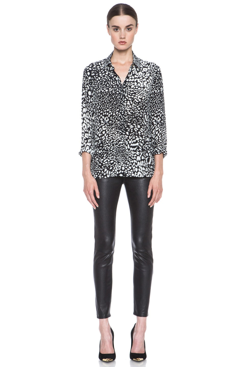 Image 5 of VERSACE Stamp Print Silk Blouse in Black