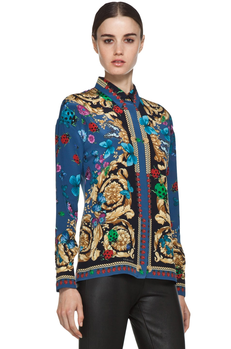 Image 4 of VERSACE Ladybug Floral Print Silk Blouse in Blue