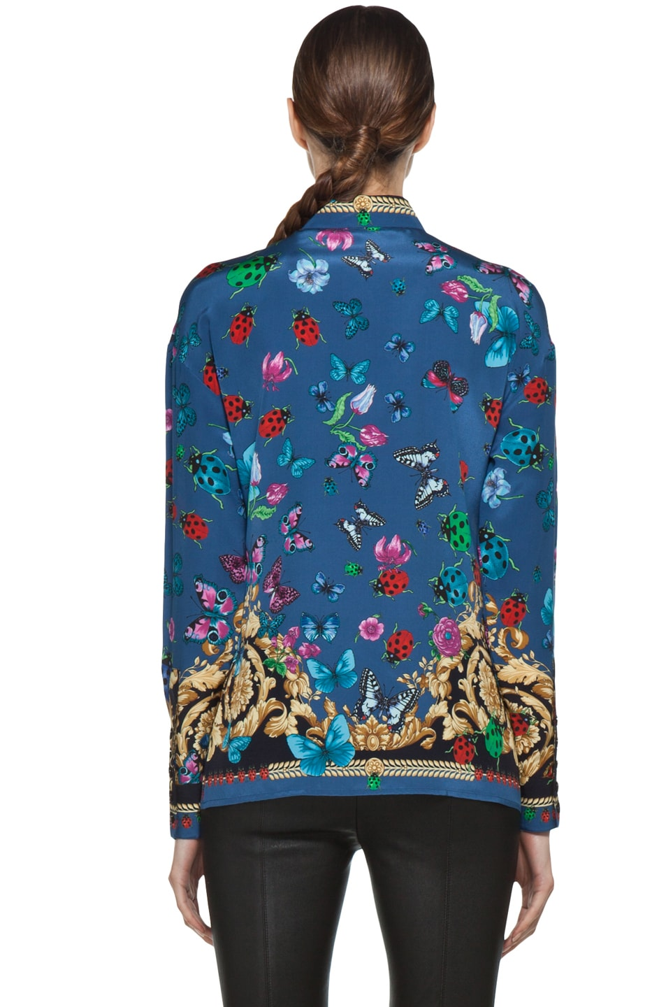 Image 5 of VERSACE Ladybug Floral Print Silk Blouse in Blue