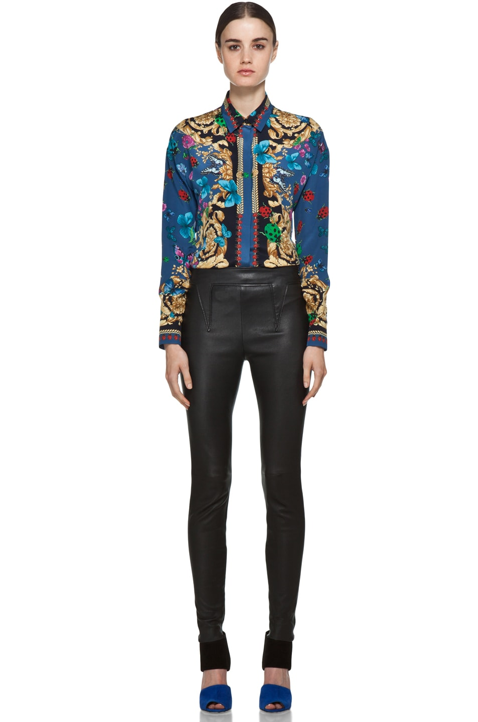 Image 6 of VERSACE Ladybug Floral Print Silk Blouse in Blue