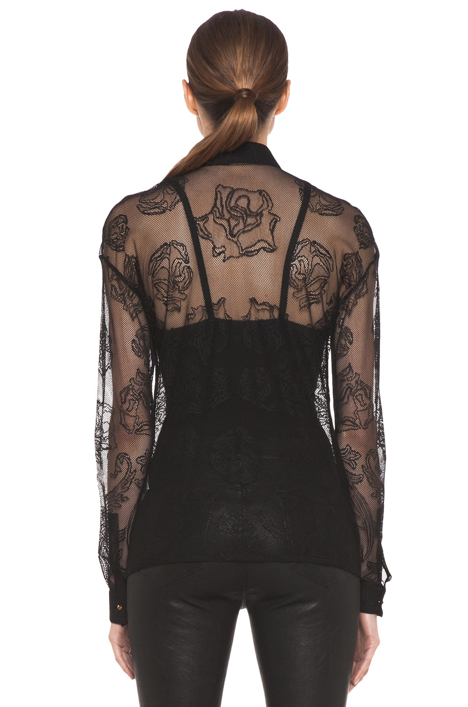 Image 5 of VERSACE Lace Blouse in Black