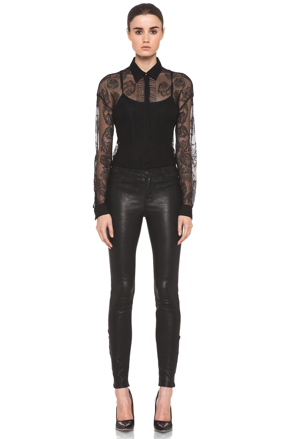 Image 6 of VERSACE Lace Blouse in Black