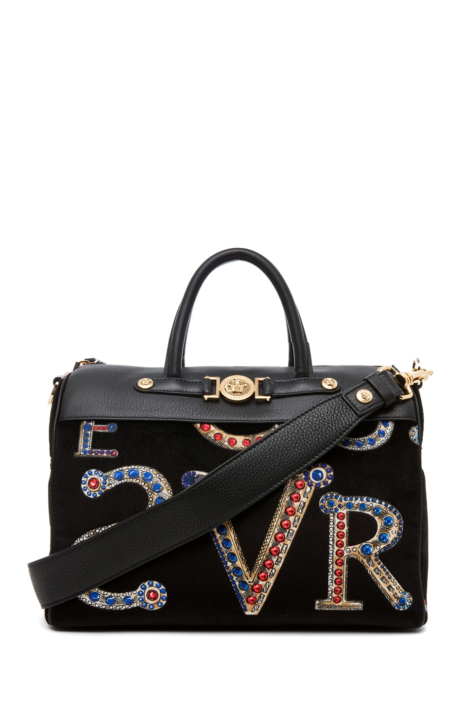 Image 1 of VERSACE Mono Velvet Handbag in Black