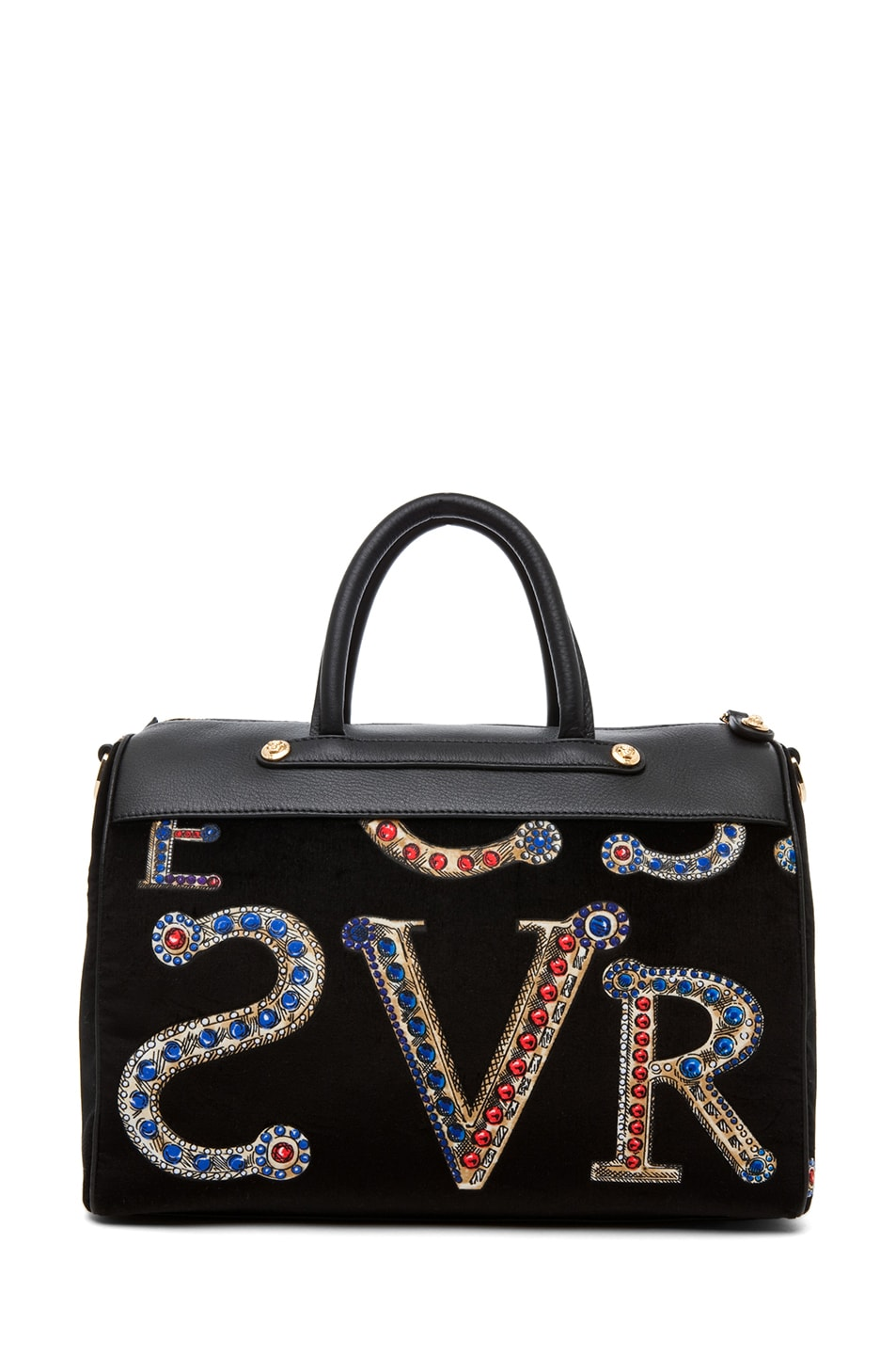 Image 2 of VERSACE Mono Velvet Handbag in Black