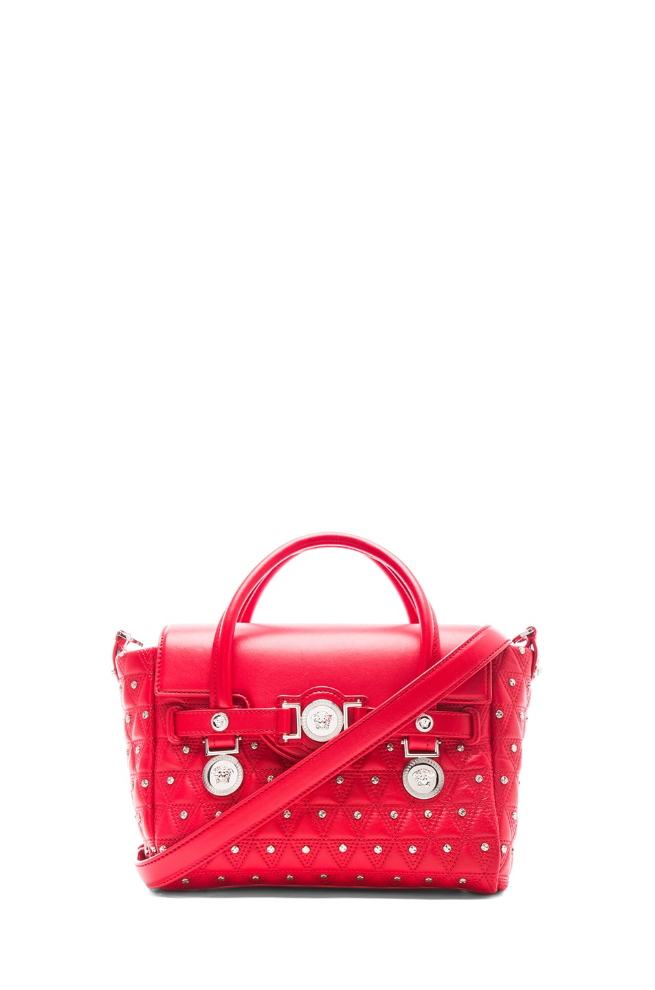 Image 1 of VERSACE Small Studded Satchel in Red