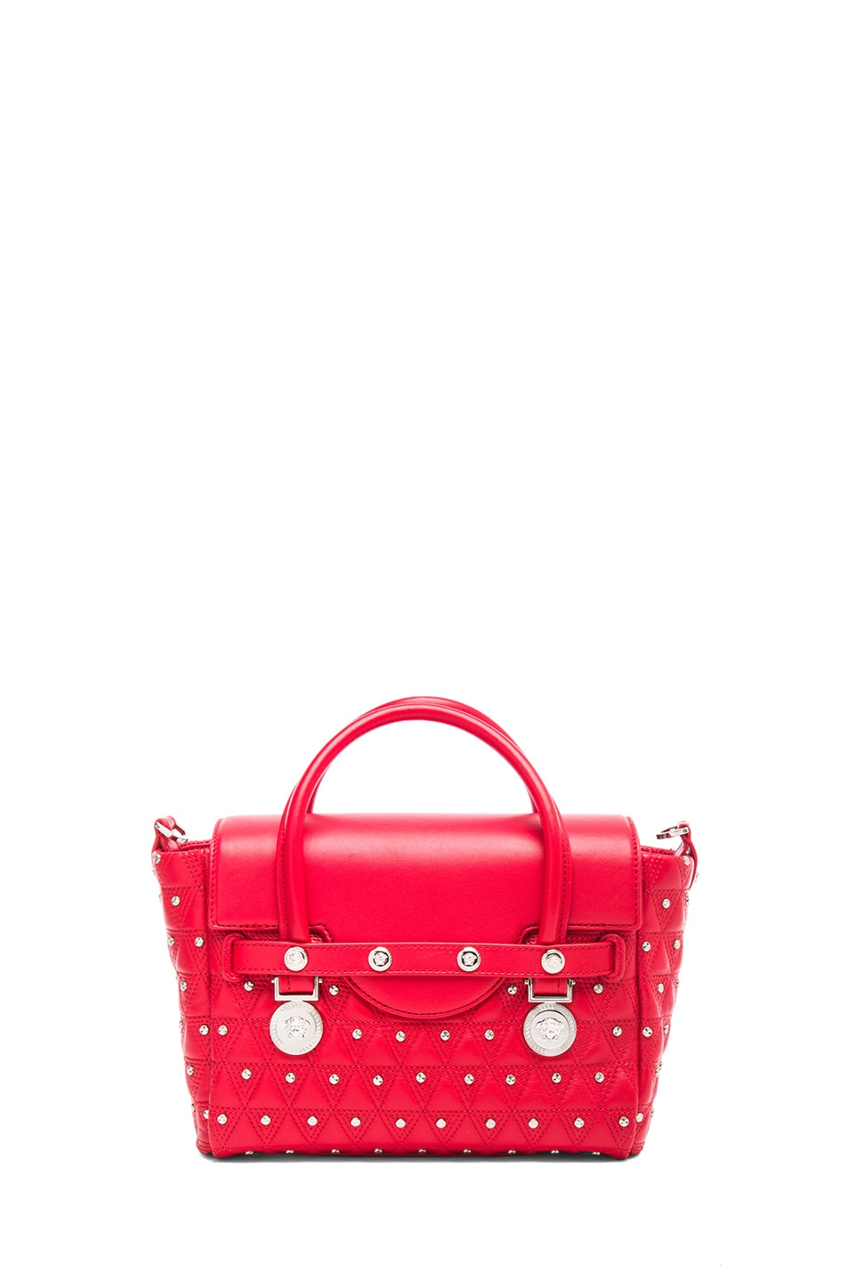 Image 2 of VERSACE Small Studded Satchel in Red