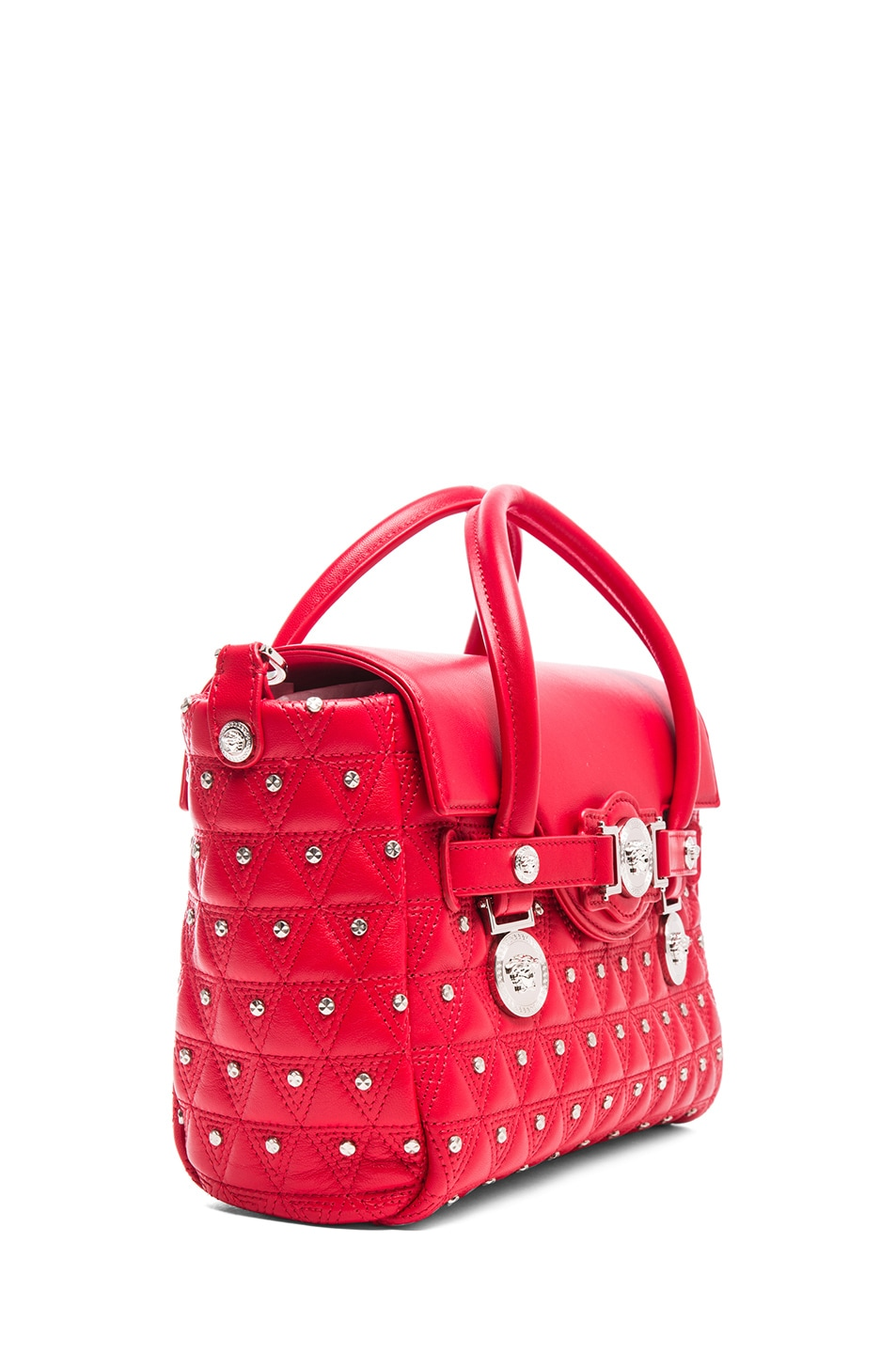 Image 3 of VERSACE Small Studded Satchel in Red