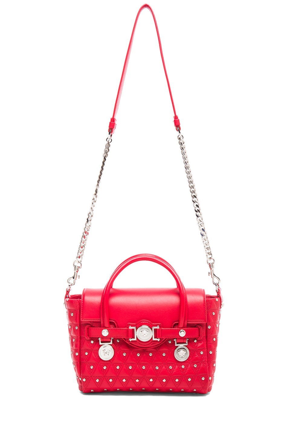Image 5 of VERSACE Small Studded Satchel in Red