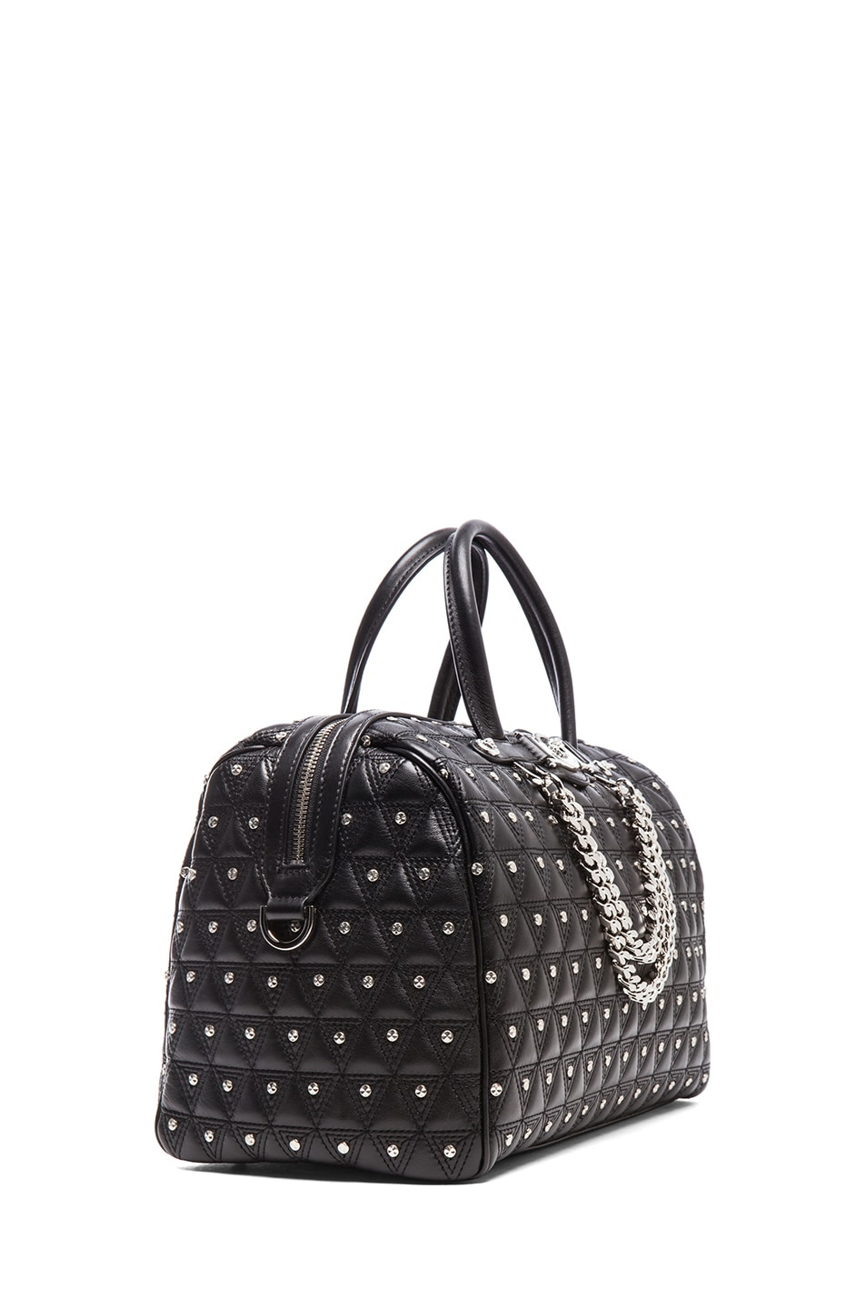 Image 3 of VERSACE Leather Studded Tote with Strap in Black
