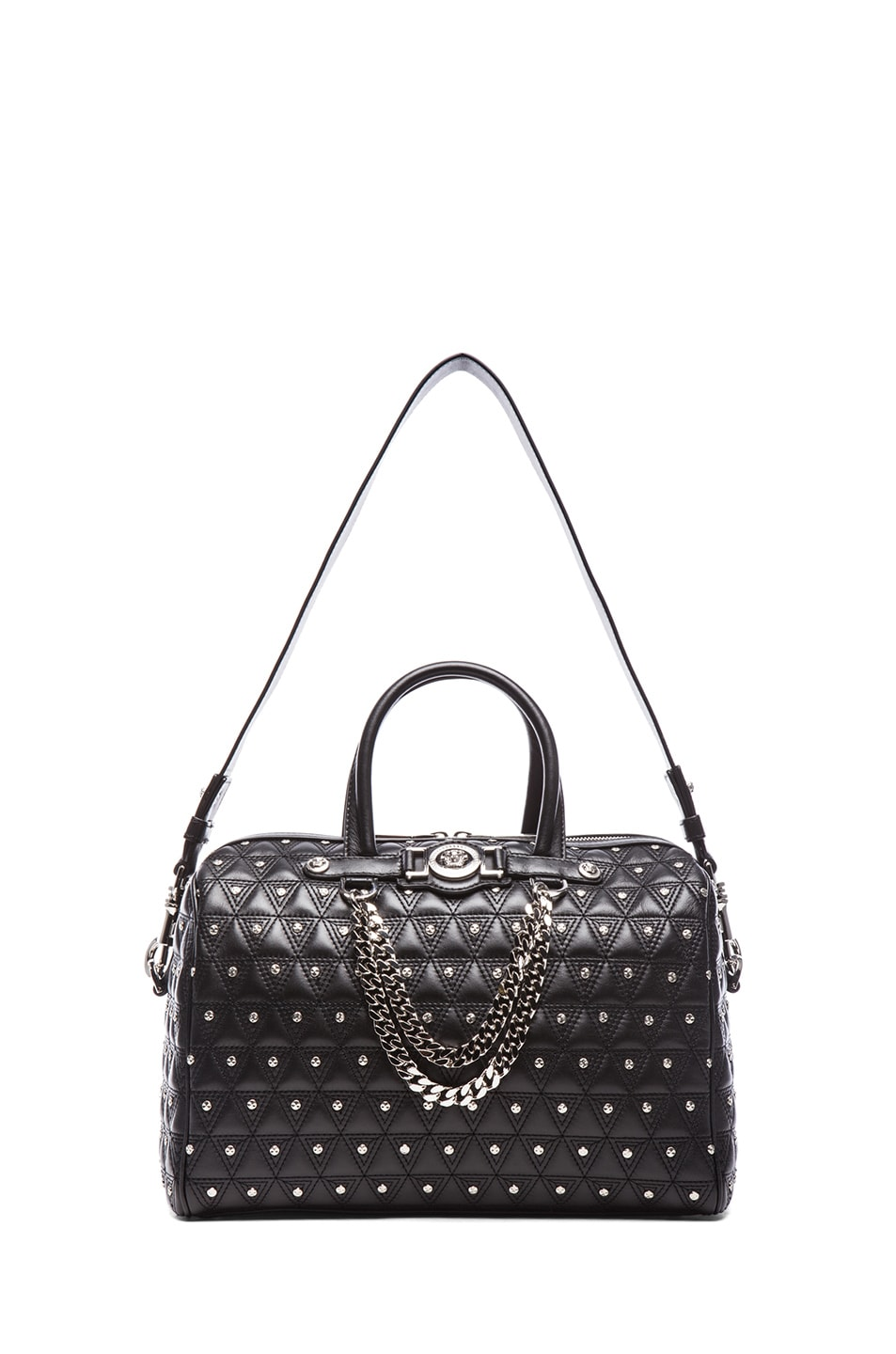Image 5 of VERSACE Leather Studded Tote with Strap in Black