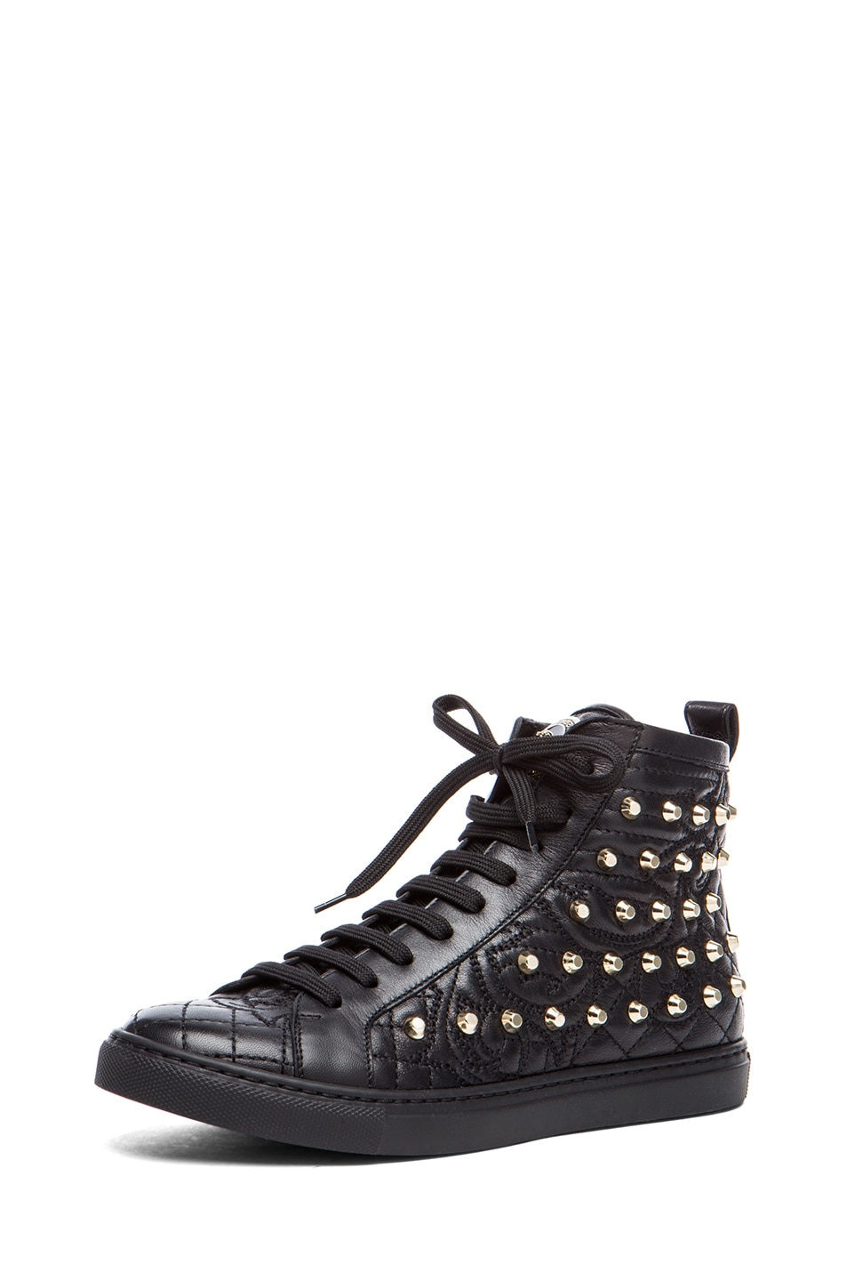 Image 2 of VERSACE Nappa Leather Studded Sneaker in Black & Gold