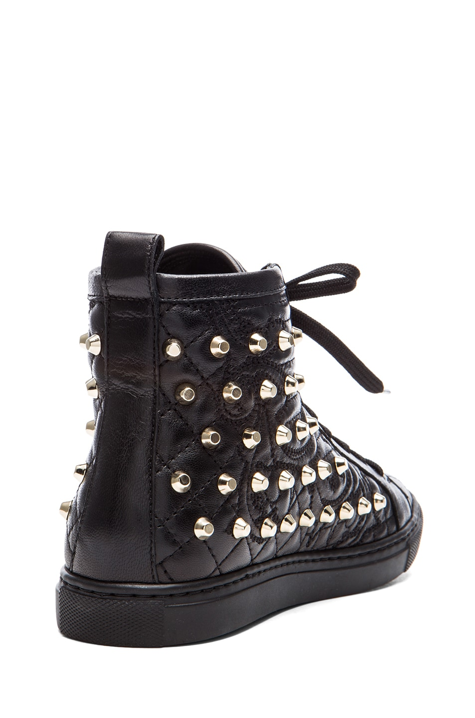 Image 3 of VERSACE Nappa Leather Studded Sneaker in Black & Gold