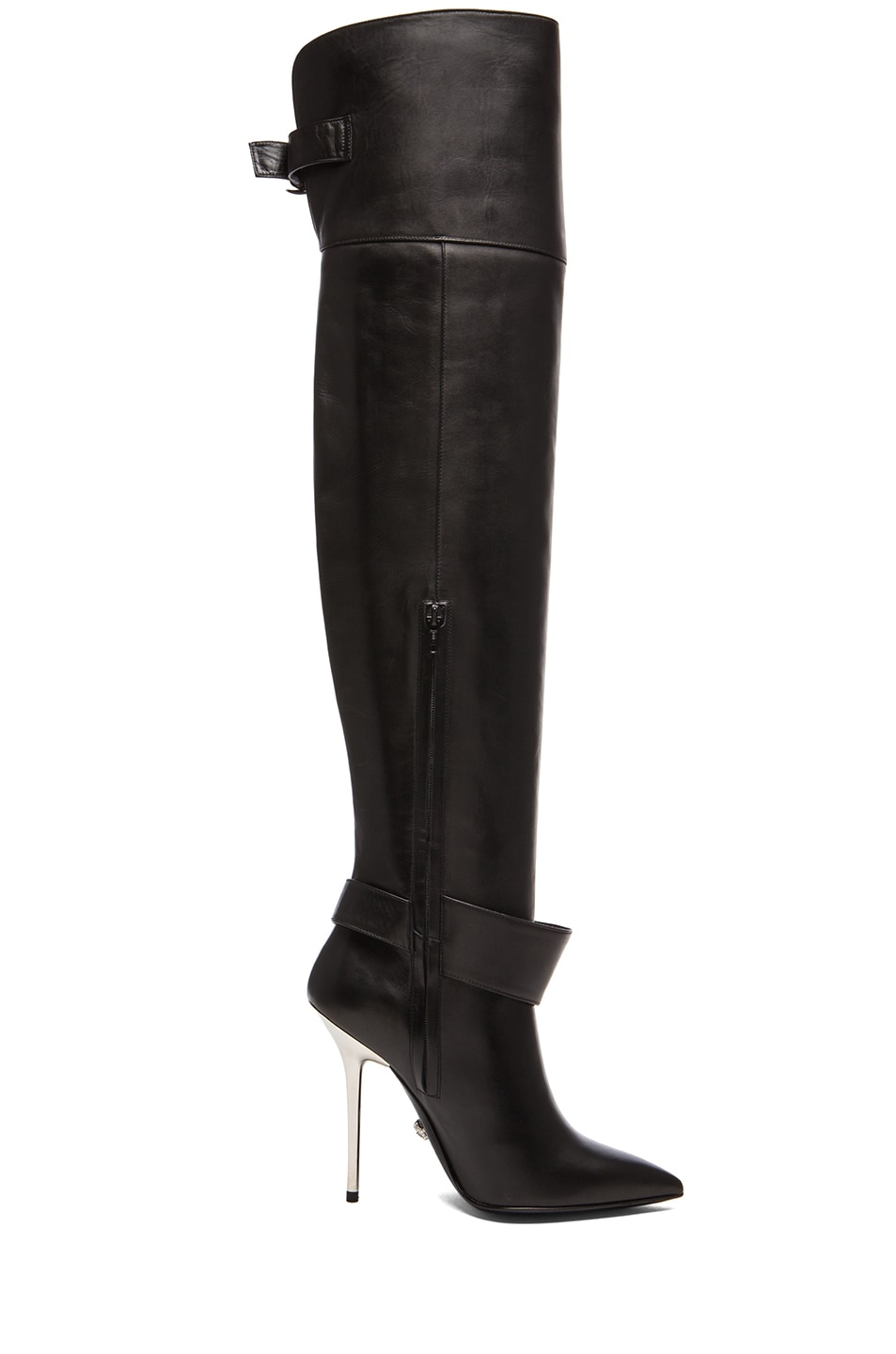 versace fringe thigh high leather boots in black silver