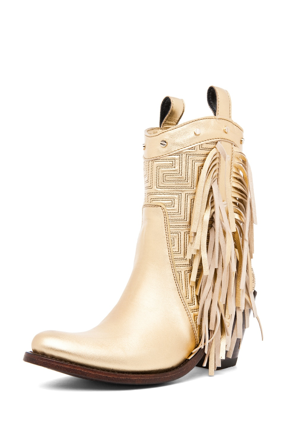 Image 2 of VERSACE Fringe Cowboy Boot in Gold
