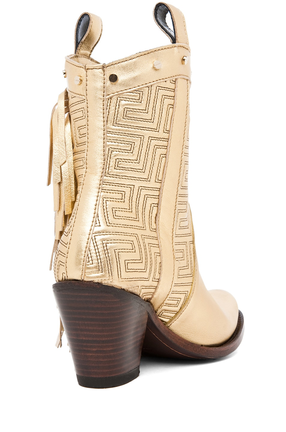 Image 3 of VERSACE Fringe Cowboy Boot in Gold