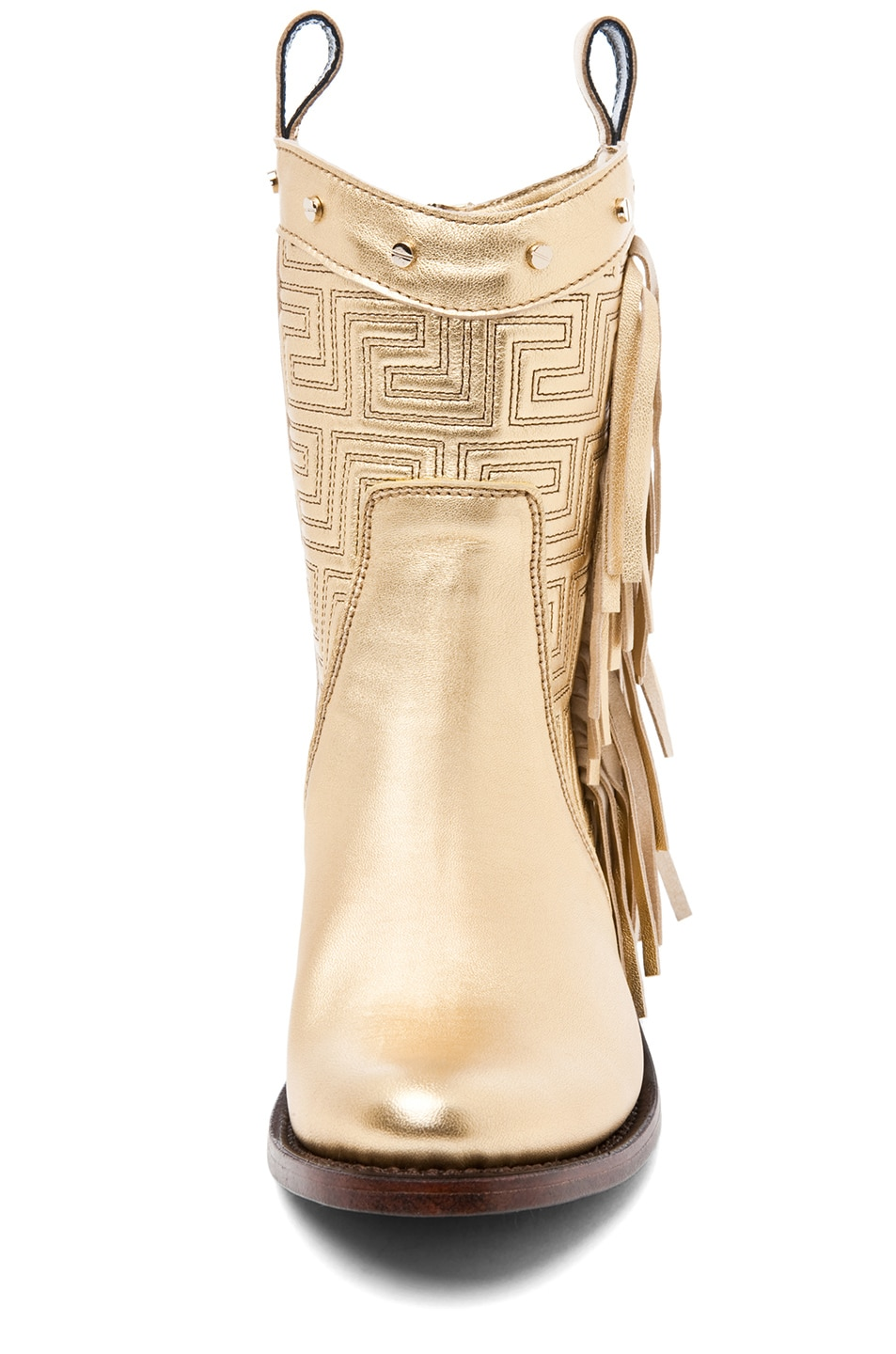 Image 4 of VERSACE Fringe Cowboy Boot in Gold