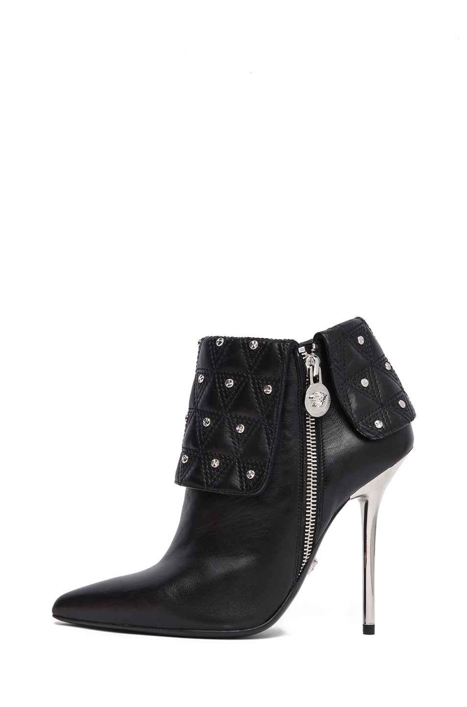 Image 1 of VERSACE Leather Ankle Booties in Black