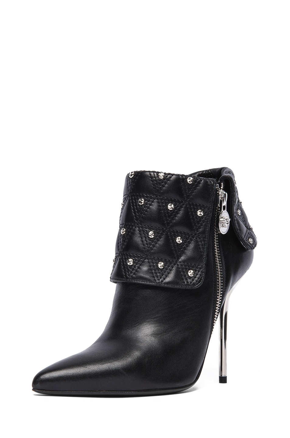Image 2 of VERSACE Leather Ankle Booties in Black