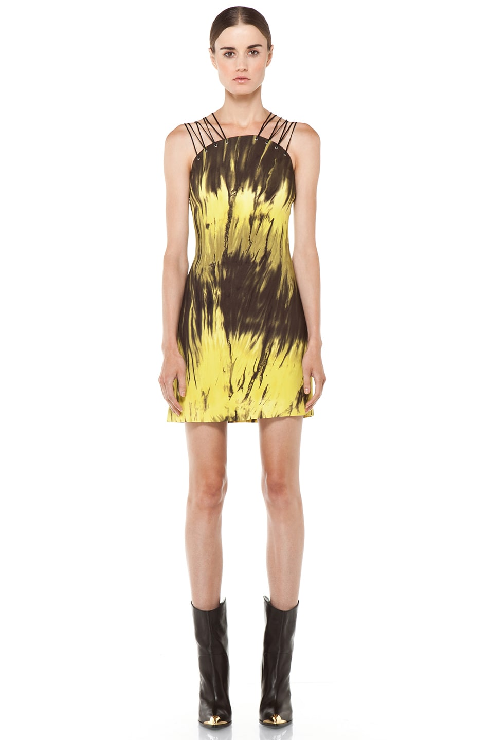 Image 1 of Versus Printed Tank Dress in Citron