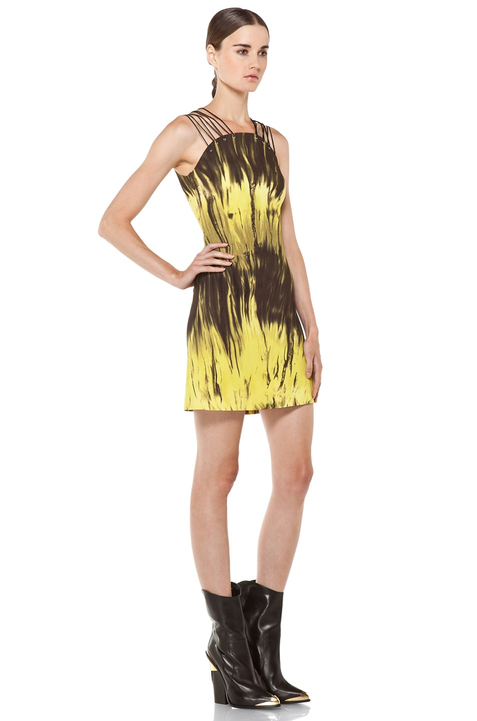 Image 3 of Versus Printed Tank Dress in Citron