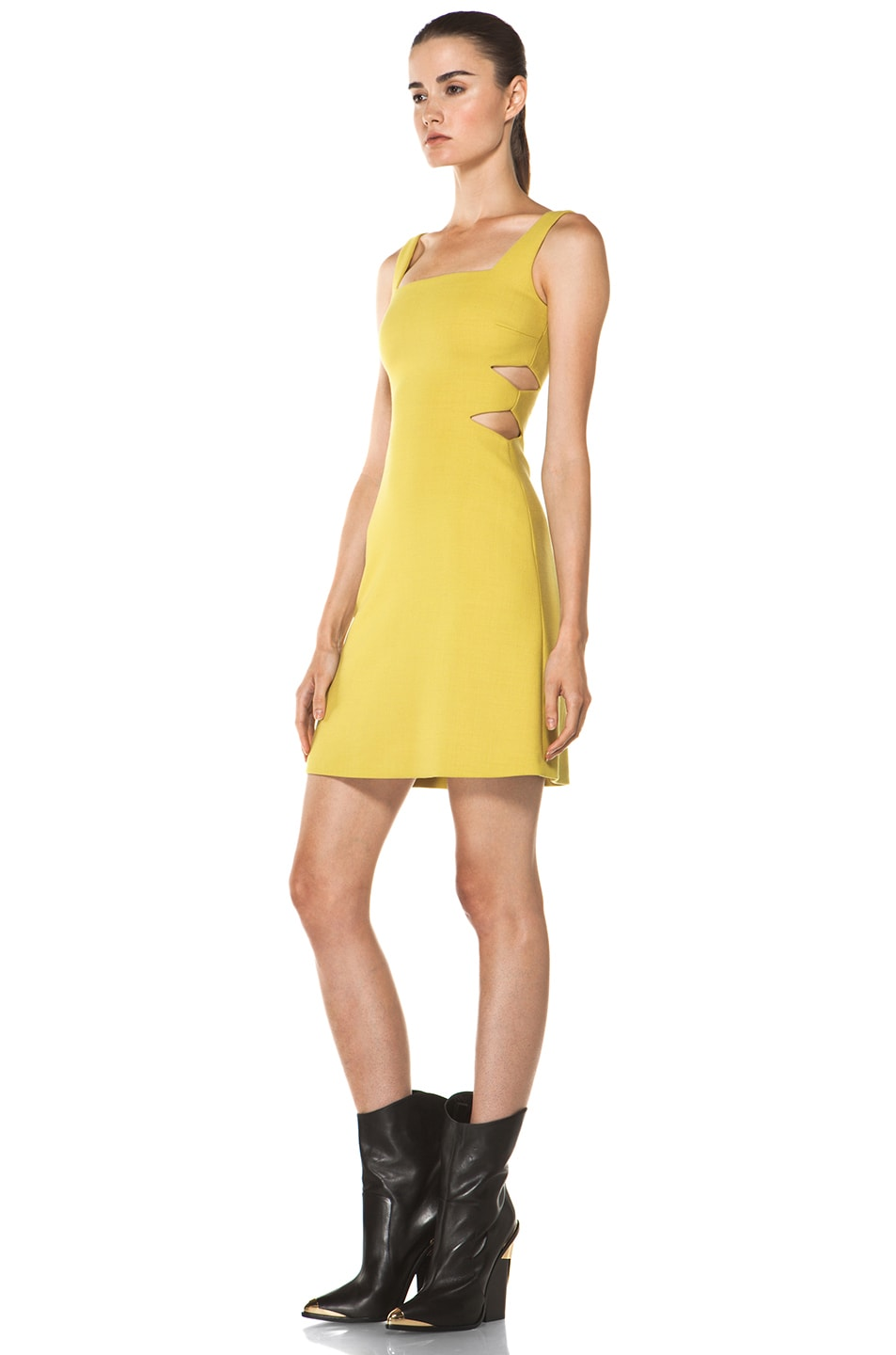 Image 2 of Versus Cut Out Tank Dress in Citron