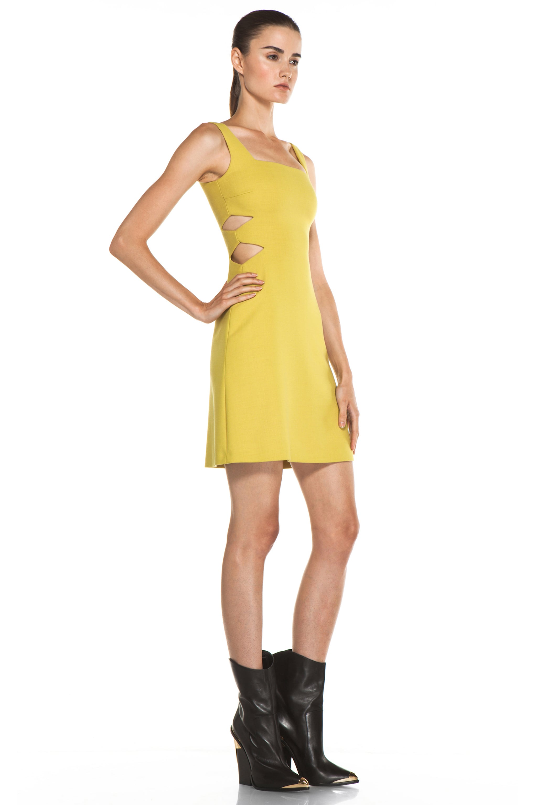 Image 3 of Versus Cut Out Tank Dress in Citron