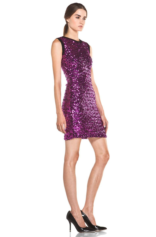 Image 3 of Versus Sequin Tank Dress in Fuchsia