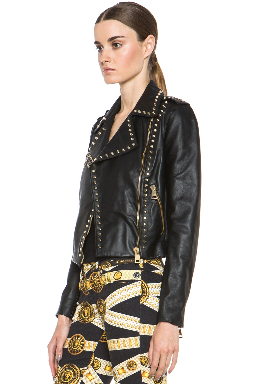 Image 3 of Versus Leather Jacket & Gold in Black