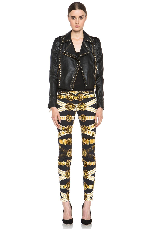 Image 6 of Versus Leather Jacket & Gold in Black