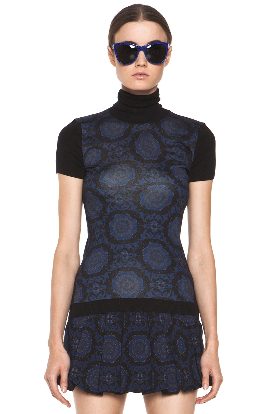 Image 1 of Versus Silk-Blend Turtleneck Top in Midnight