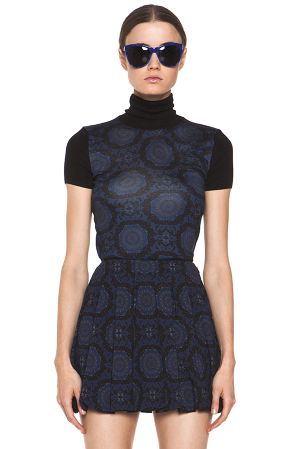 Image 2 of Versus Silk-Blend Turtleneck Top in Midnight