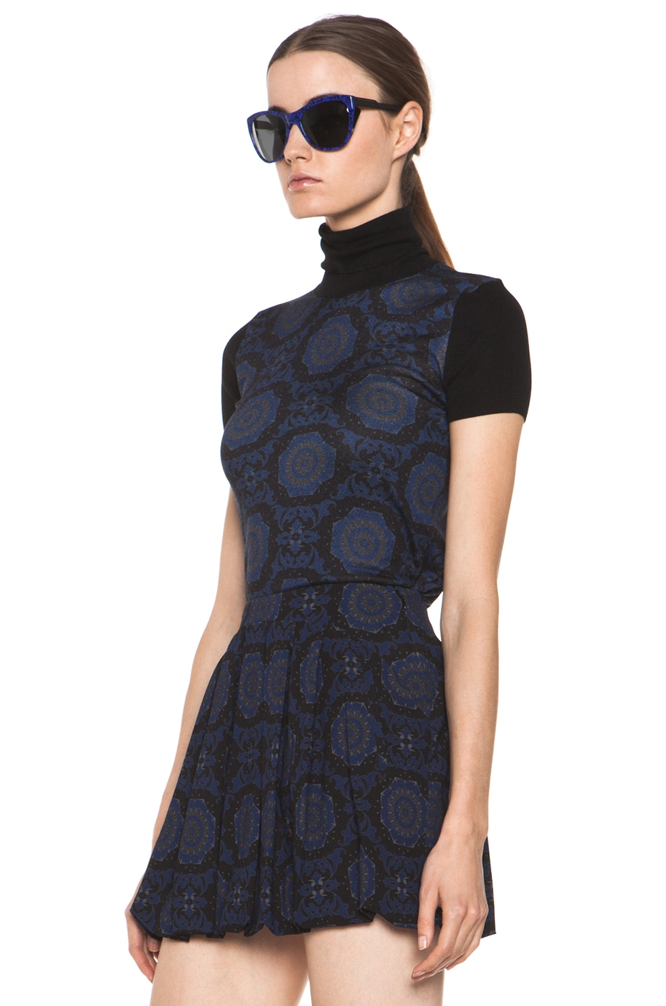 Image 3 of Versus Silk-Blend Turtleneck Top in Midnight