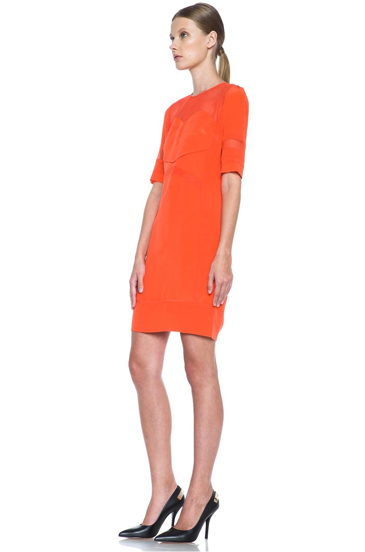 Image 2 of Victoria Victoria Beckham Tulle Insert Silk Dress in Tangerine