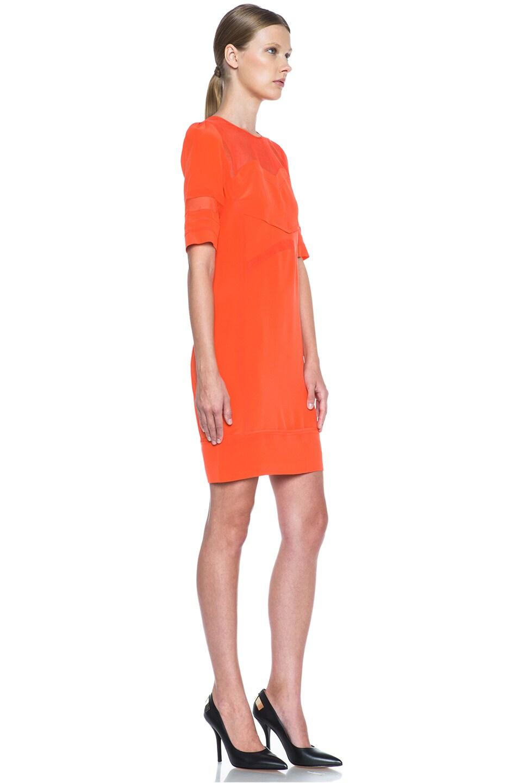 Image 3 of Victoria Victoria Beckham Tulle Insert Silk Dress in Tangerine